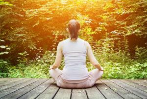 Women sat meditating