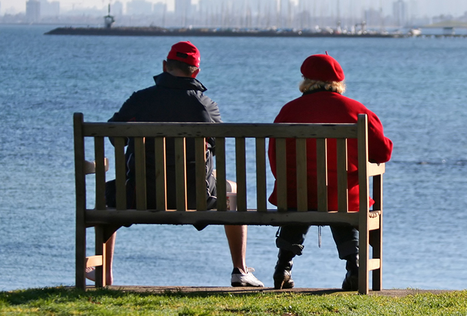 couple sat outside on a park bench