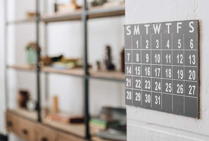 2019 calendar on a kitchen wall